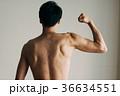 力こぶをつくる若い日本人男性 後ろ姿 36634551