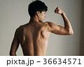 力こぶ 若い日本人男性 上腕二頭筋 広背筋 36634571