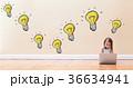 Light Bulbs with little girl using a laptop 36634941