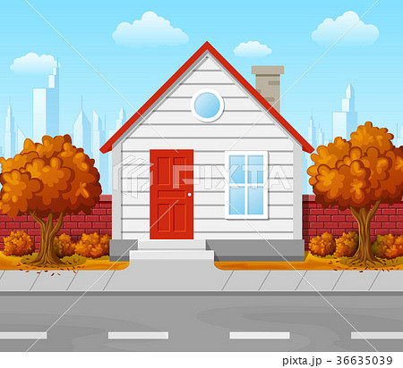 suburban house with autumn tree and cityのイラスト素材 36635039