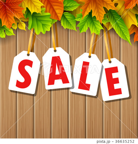 autumn sale banner with colorful fall leavesのイラスト素材 36635252