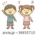 男の子 女の子 挙手のイラスト 36635715