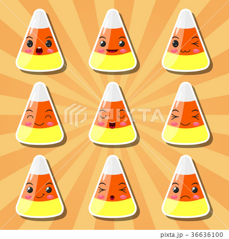 collection of cartoon candy corn smileysのイラスト素材 36636100