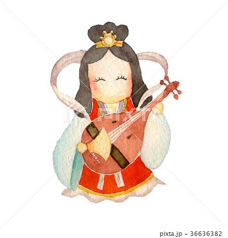 弁財天 人物 水彩 イラスト 36636382