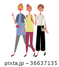 歩く 三人 女性 イラスト 36637135