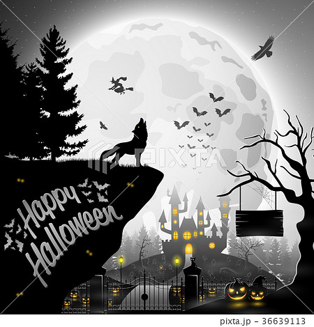 Halloween night background with roaring wolves 36639113