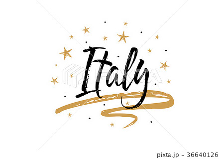italy name country word text card banner scriptのイラスト素材