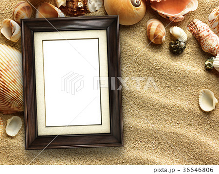 Picture frame on shells and sand backgroundの写真素材 [36646806] - PIXTA