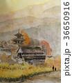 当麻寺の手書きスケッチ 奈良の紅葉 36650916