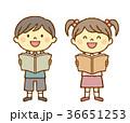男の子 女の子 読書のイラスト 36651253