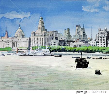 1987年の上海 黄浦江から観たバンドの街並み 36653454