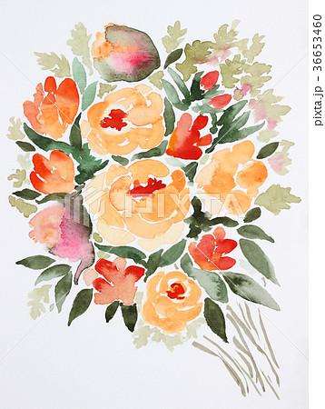 水彩花束オレンジ色バラ手描き薔薇グリーン色葉っぱリーフ 36653460