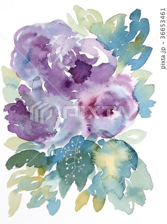 水彩花可愛らしい紫色の花束手描きフラワー青い葉っぱ 36653461