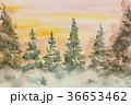 水彩で手描きの森林夕焼け黄色空グリーン木 36653462