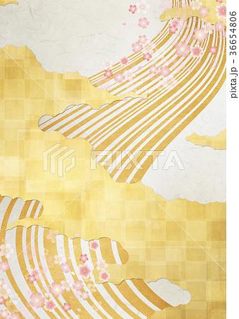和を感じる背景素材(金箔、雲、流水、桜) 36654806