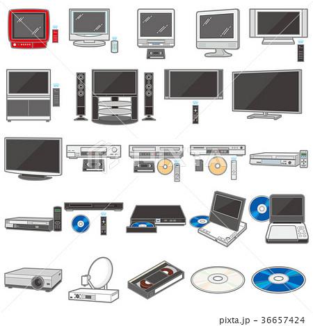 様々な電化製品のイラスト / テレビ&録画機 36657424