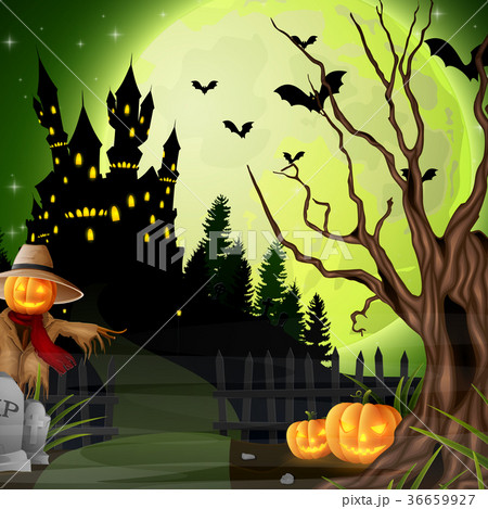 halloween background with scarecrow and pumpkinsのイラスト素材