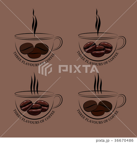 Set of Cup of Hot Coffee with Ferry and Grains 36670486