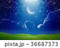 Crescent moon in starry sky 36687373