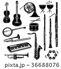 Musical instrument icons set, simple style 36688076