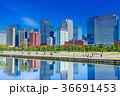 東京 皇居 桜田濠と丸の内ビル群 36691453