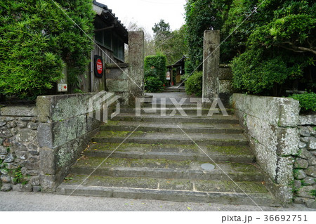 知覧武家屋敷石垣と石の門柱 36692751