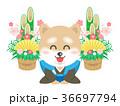 犬 年賀状素材 和服のイラスト 36697794