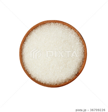 Close up wooden bowl full of white sugar isolatedの写真素材 [36709226] - PIXTA