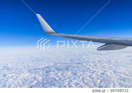雲の上の風景 機内撮影(日本上空)飛行機の翼 36709722