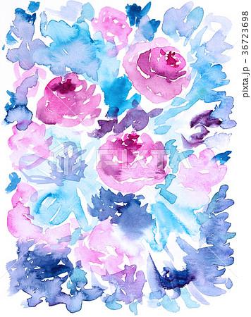水彩ばら抽象的なピンク色お花ブルー色紫色葉 36723698