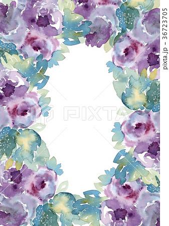 水彩花で可愛らしい紫色薔薇のフレーム手描きフラワーポスター 36723705