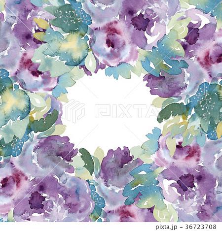 水彩花で可愛らしい紫色薔薇スクエアフレーム手描きフラワー枠 36723708