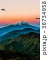 富士山 朝焼け 山の写真 36734958