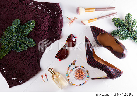 Fashion Christmas flat lay sceneの写真素材 [36742696] - PIXTA