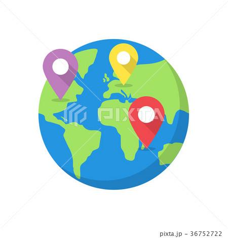 world map with destination pins のイラスト素材 36752722 pixta