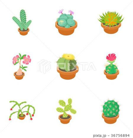 Cactus icons set, cartoon style 36756894
