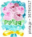 水彩ばら花束子供っぽい描き方ピンク色薔薇黄色リボン 36764317
