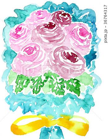 水彩ばら花束子供っぽい描き方ピンク色薔薇黄色リボンのイラスト素材