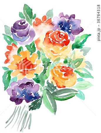 水彩ばら花束オレンジ色バイオレット色薔薇手描きフラワー 36764318