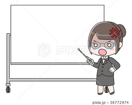 ホワイトボードの前に立って怒っている女性 36772974