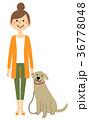 若い女性 ママ 犬の散歩 36778048