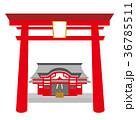 神社のイラスト 鳥居 本殿 白バック ベクターデータ 36785511