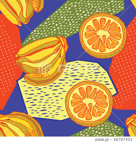 bright tropical background with juicy fruits のイラスト素材