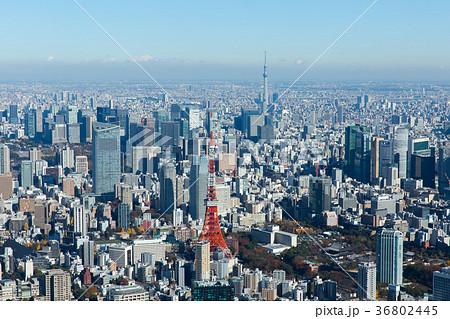 東京タワーと東京スカイツリーが同時に写った空撮写真 36802445