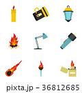 Lighting icon set, flat style 36812685