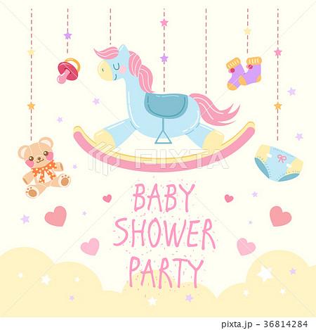 cartoon baby showerのイラスト素材 36814284 pixta