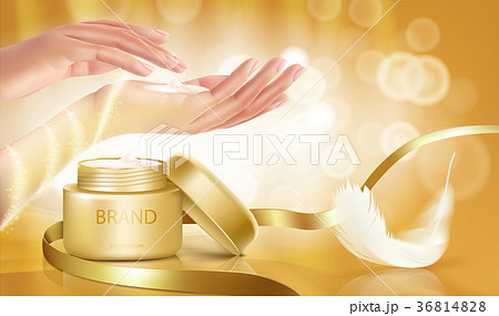 Gold jar with open lid is full of cosmetic cream 36814828