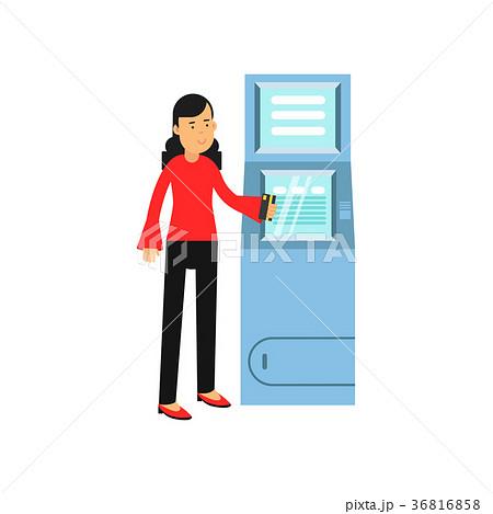 Young smiling woman standing near cash machine 36816858