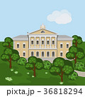 Cartoon manor house or palace in summer landscape 36818294