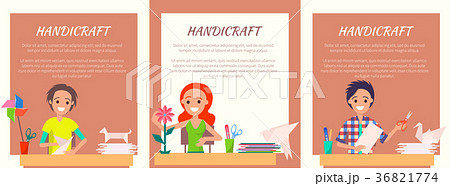 Handicraft Banners with People Making Origami Set 36821774